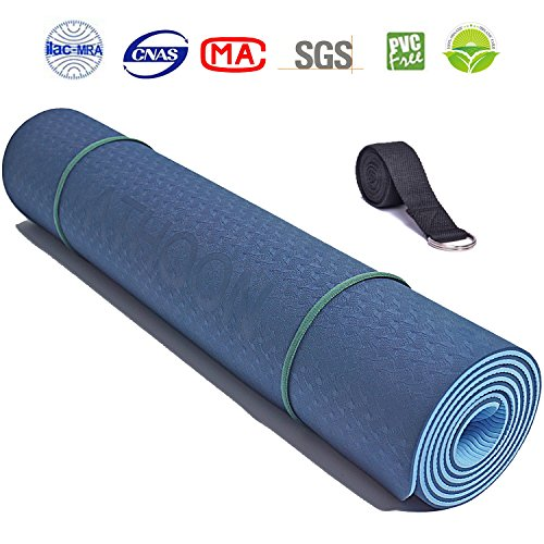 ATHOON Thick Yoga Mat with Strap 2018 New Eco Friendly Non Slip Exercise TPE Yoga Mat for Men & Women Dark Blue