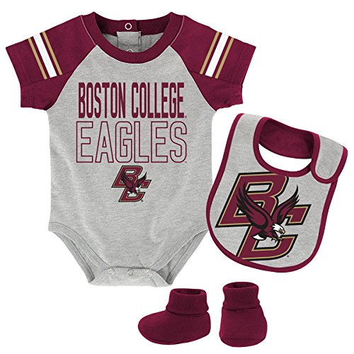 NCAA by Outerstuff NCAA Boston College Eagles Newborn & Infant ''Blitz'' Bodysuit, Bib & Booties, Heather Grey, 0-3 Months by NCAA by Outerstuff