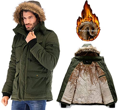 Yozai Mens Winter Military Warm Jacket Fleece Coat with Fur