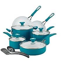 SilverStone 12 Piece Ceramic Nonstick Aluminum Cookware Set, Marine Blue