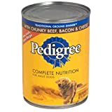 Pedigree Meaty Ground Dinner with Chunky Beef, Bacon & Cheese Dog Food 13.2 oz (Pack of 24) by Pedigree