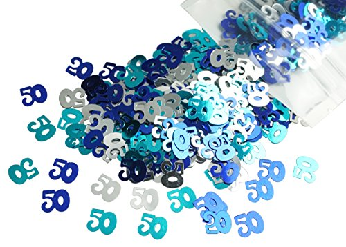 Confetti 50th Birthday (ZXSWEET Blue and Silver Number 50 50th Anniversary Or Birthday Table Sequins Confetti for DIY Crafts and Party Supplies 1 Ounce)