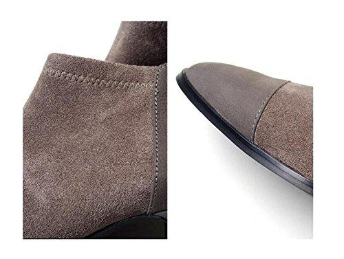 Stivali Inverno moda pelle 90160CM donna gioventù GRAY 39 ispirato scarpe stivali corti cuciture scamosciata wYr1xdtYq