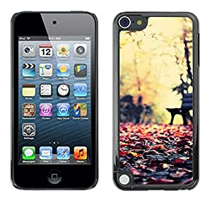 LASTONE PHONE CASE / Slim Protector Hard Shell Cover Case for Apple iPod Touch 5 / Cool Autumn Sun Nature Park Bench