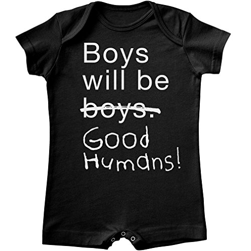 Free to Be Kids Boys Will Be Good Humans Baby Shorty Romper