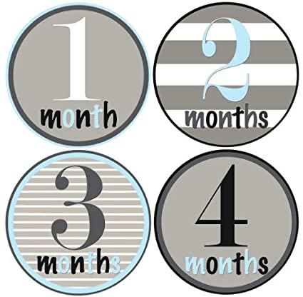 Mumsy Goose Baby Boy Monthly Stickers (1-12 Months) Capture Growth Milestones for Memory Book, Journal, Keepsakes or Photo Albums NG-M0UE-4Q13