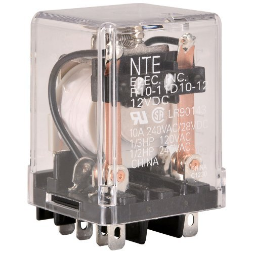 NTE Electronics R10-11D10-12 Series R10 General Purpose AC Relay, DPDT-NO Contact Arrangement, 10 Amp, 12 VDC