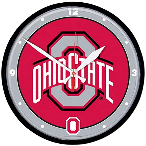 The Ohio State University Buckeyes Wall Clock, 12 inches Round - Ohio State University Wall Clock