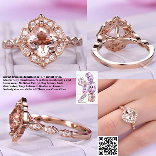 (Cushion Morganite Engagement Cathedral Ring Diamond Wedding 18K Rose Gold 7mm Floral Halo)