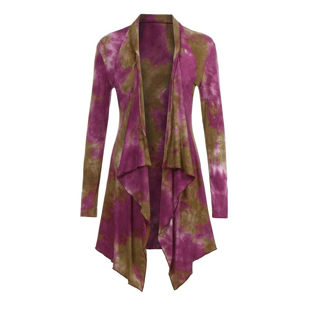 HHei_K Womens Lounge Tie Dye Style Turn-Down Collar Long Sleeve Open Front Asymmetrical Hem Loose Long Cardigan Coat