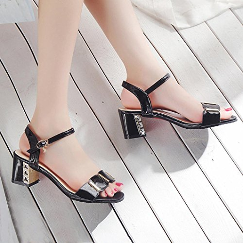 Open Mid Ankle verano Mujer Toe Sandals Party Block Women Sandals Negro Shoes para Heel Ladies RETUROM Sandalias wnP0qHRqf