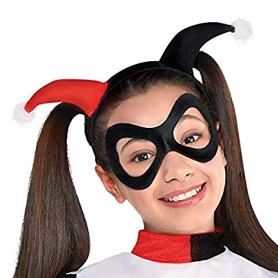Costumes USA Batman Harley Quinn Costume for Girls, Includes a Dress, Headband, Mask, and Fingerless Gloves: Clothing