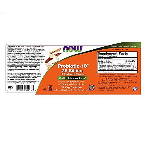 NOW Probiotic-10 25 Billion,50 Veg Capsules by NOW Foods (Image #2)
