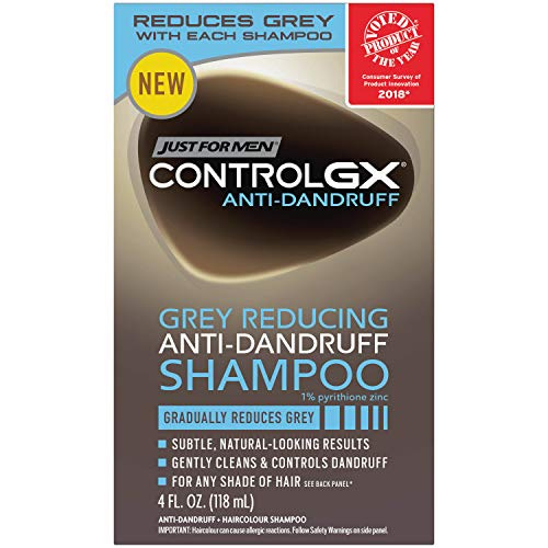 Just For Men Control GX Gradual Grey Reducing Dandruff Shampoo with Pyrithione Zinc, 4 Ounce