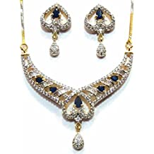 Shingar Jewelry Ksvk Jewels Cubic Zirconia (CZ) Tanmania Pendant Set For Women (9952-psad-blue)