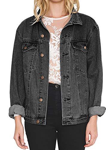 (Women's Oversize Vintage Washed Boyfriend Denim Jacket Long Sleeve Classic Loose Jean Trucker Jacket (S, Snow Black Washed))
