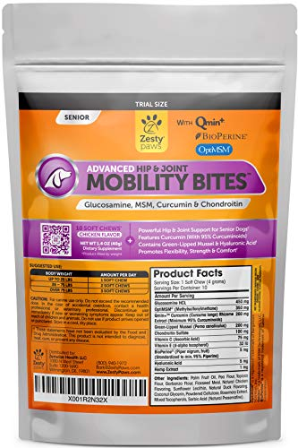 Hip & Joint Supplement for Senior Dogs - Grain Free Soft Chews with Glucosamine Chondroitin, Hemp, Yucca & BioPerine Black Pepper - Natural Mobility Support Supplements for Hips and Joints - 10 Count