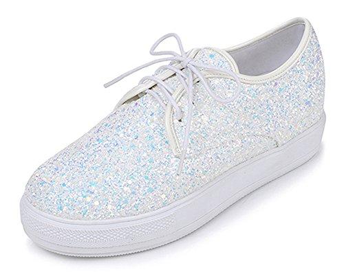 Aisun Womens Sparkly Pailletten Ronde Neus Dikke Zool Lace-up Flats Platform Sneakers Schoenen Wit