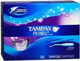 Tampax Pearl Tampons Ultra Absorbency Unscented 36 Each (Pack of 10)