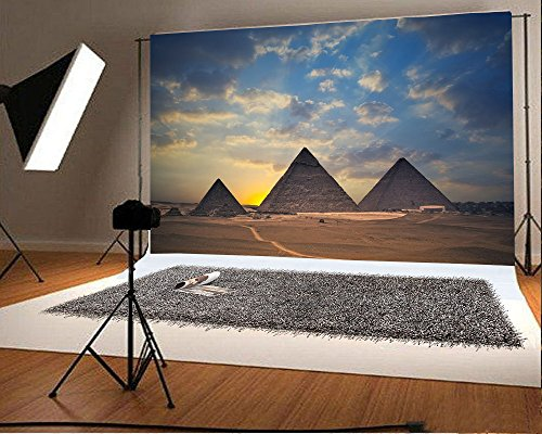 Laeacco Vinyl 7x5ft Photography Background Egyptian Pyramids Tourist Attraction Sun rise Blue Sky White Clouds Theme Backdrops Portraits Shooting Video Studio Props 2.2x1.5m
