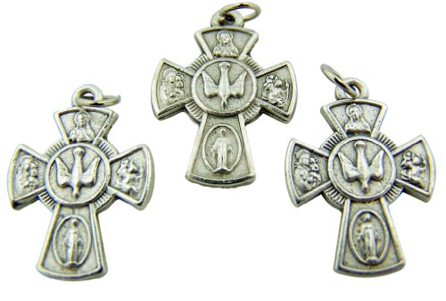 Silver Tone Rosary Part  4-Way Cross with Holy Dove Center Pendant Charm, 7/8-inch