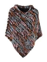 Ferand Ladies Genuine Knitted Rabbit Fur Poncho Cape Shawl for Women