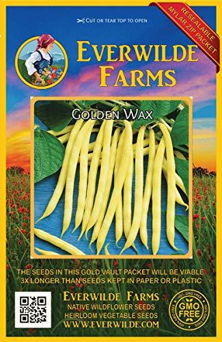 Everwilde Farms - 160 Golden Wax Yellow Bean Seeds - Gold Vault Jumbo Seed Packet