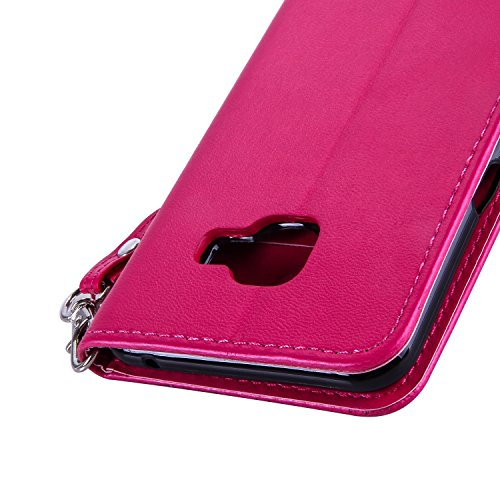 JIALUN-Personality teléfono shell Caja de cuero dorado de la cubierta de la caja de la mariposa de las flores de color sólido Funda de cuero de la PU Caso de la cubierta de la cartera de silicona para Rose Red