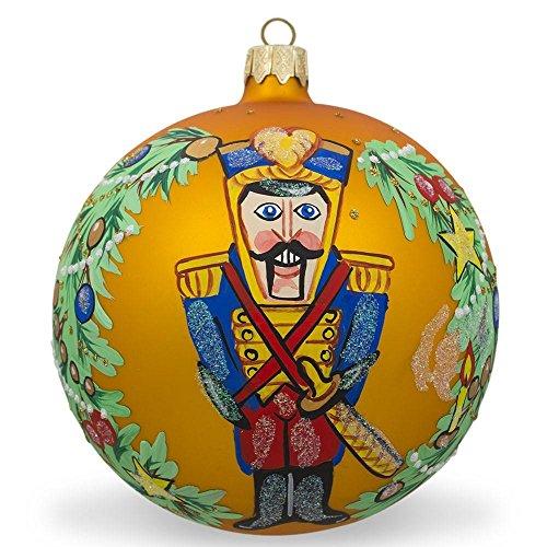 - BestPysanky Nutcracker Soldier Wreath Glass Ball Christmas Ornament 4 Inches