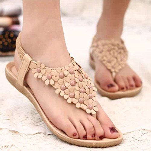Sandalias de Verano Mujer Flip Flop Sandalias de Bohemia Flower Flat Beige