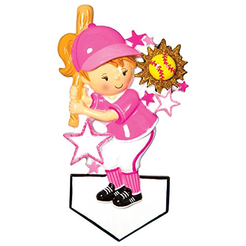 Softball Figure - Personalized Softball Player Christmas Ornament for Tree 2018 - Girl in Pink Holds Bat Mush-Ball Stars - Athlete Coach Hobby College MLB Kitten Lady Mitt Brunette Blonde - Free Customization by Elves