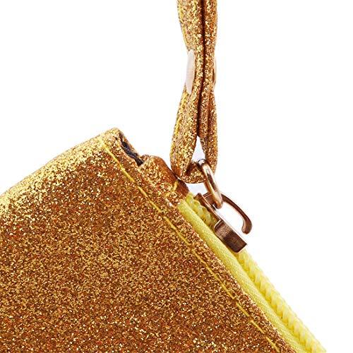 VWH Men Women Wallets PU Bag Zipper Small Mini Clutch Phone Wristlet Party Handbag(Gold) by VWH (Image #3)
