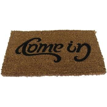suck uk ambigram door mat come in go away