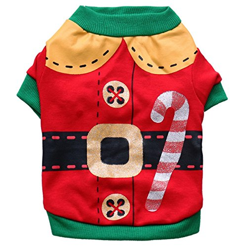 Kirei Sui Christmas Dogs Cats Pets Clothes Elf Costume Small Red]()