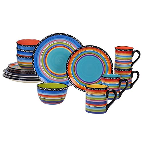 Certified International 43529RM Tequila Sunrise 16 pc Set, Service for 4 Dinnerware, Dishes, Multicolored ()