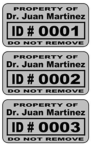 2000 Custom 2x1 Metalized Silver Polyester Asset Tags / Labels Various Quantities ''Featuring Easy Do It Yourself Design''