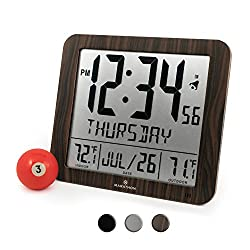 Marathon NEW ITEM, SPECIAL INTRODUCTORY PRICE CL030027-FD-WD Slim Atomic Wall Clock with Full Calendar and Large Display and Indoor/Outdoor Temperature (New Full Display, Color: Wood Tone)