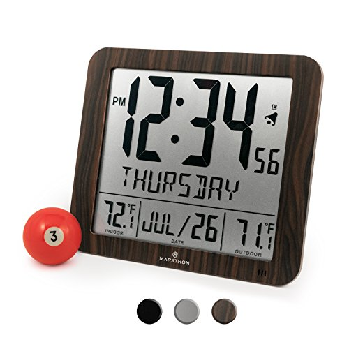 Display Calendar (Marathon NEW ITEM, SPECIAL INTRODUCTORY PRICE CL030027-FD-WD Slim Atomic Wall Clock with Full Calendar and Large Display and Indoor/Outdoor Temperature (New Full Display, Color Wood Tone))