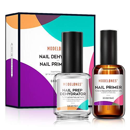 Modelones Professional Natural Nail Prep Dehydrate & Bond Primer, Nail Protein Bond, Superior Bonding Primer for Acrylic Powder and Gel Nail Polish 15ml
