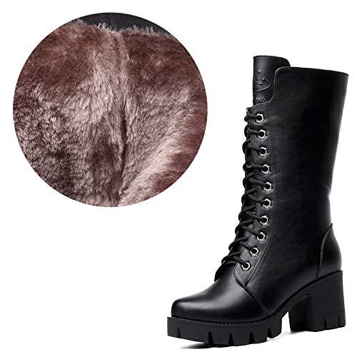 Liuxc High Heels Martin Stiefel weibliche PU Stiefel Damen Stiefel Winter Frauen Herbst und Winter dick mit