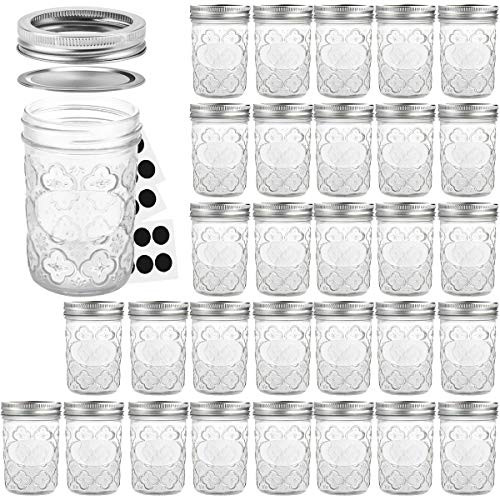 Mason Jars 8 OZ, VERONES Canning Jars Jelly Jars With Regular Lids and Bands, Ideal for Jam, Honey, Wedding Favors, Shower Favors, Baby Foods, 30 -