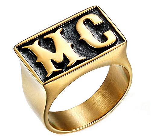 Punk Cool Locomotive Series Letter MC 18K Gold Plated Stainless Steel Rings for Mens,Size 8