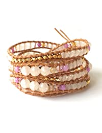 M&B Women's Beaded Bracelet in Pink and Gold - Leather Wrap Bracelet - Girlfriend Gifts
