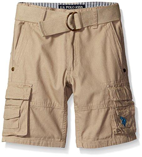 U.S. Polo Assn.. Big Boys' Washed Ripstop Belted Cargo Short, Light Khaki, 10