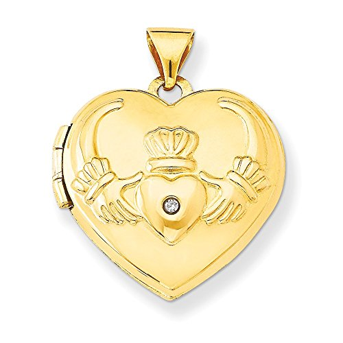 (14k Yellow Gold Diamond Irish Claddagh Celtic Knot Heart Photo Pendant Charm Locket Chain Necklace That Holds Pictures Fine Jewelry Gifts For Women For Her)