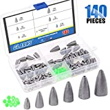 Glarks 140Pcs Fishing Sinkers Weights Kit, 90Pcs 2g 3.5g 5g 7g 10g 15g Worm Fishing Sinker Weight Bullet Lead Sinkers with 50Pcs Green Luminous Fishing Bead Set