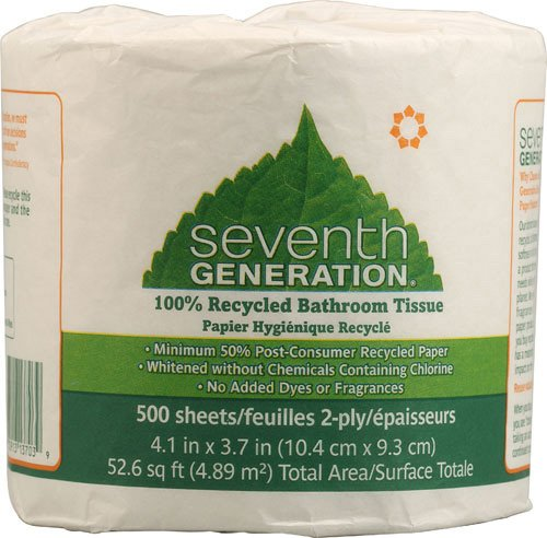 (Seventh Generation 137038 100 Percent Recycled Jumbo Roll Bathroom Tissue, 2-Ply, White, 500-Roll, 60-Carton)