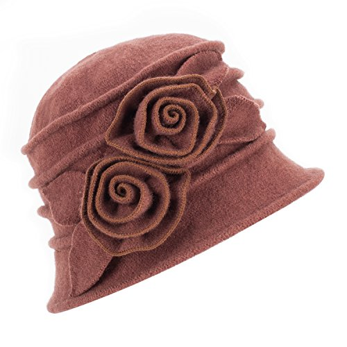 1920s Gatsby Womens Flower Wool Warm Beanie Bow Hat Cap Crushable A287 (Brown) (20s Womens Hats)