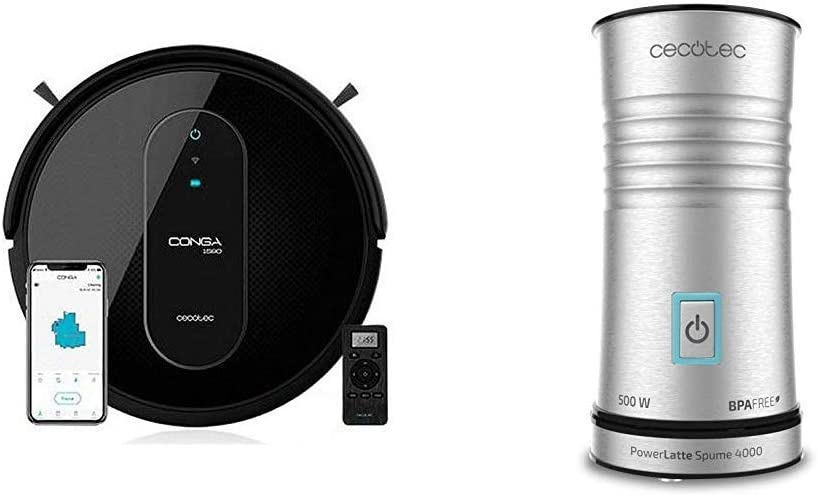 Cecotec Robot Aspirador Conga Serie 1590 Active + Espumador de leche Power Latte Spume 4000: Amazon.es: Hogar