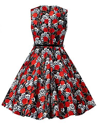 Idgreatim festa Vintage Floral ragazza da Senza Rockabilly Abiti 9 maniche Print Floral Swing vestito g6TPgwxr